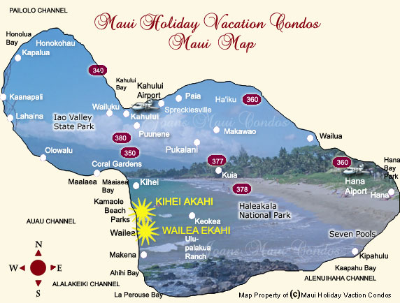 Maui Holiday Vacation Condos Maui Map
